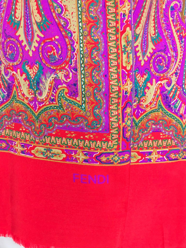 Fendi Paisley Silk Oblong Scarf in Reds and Fuchsia  In Excellent Condition For Sale In West Palm Beach, FL