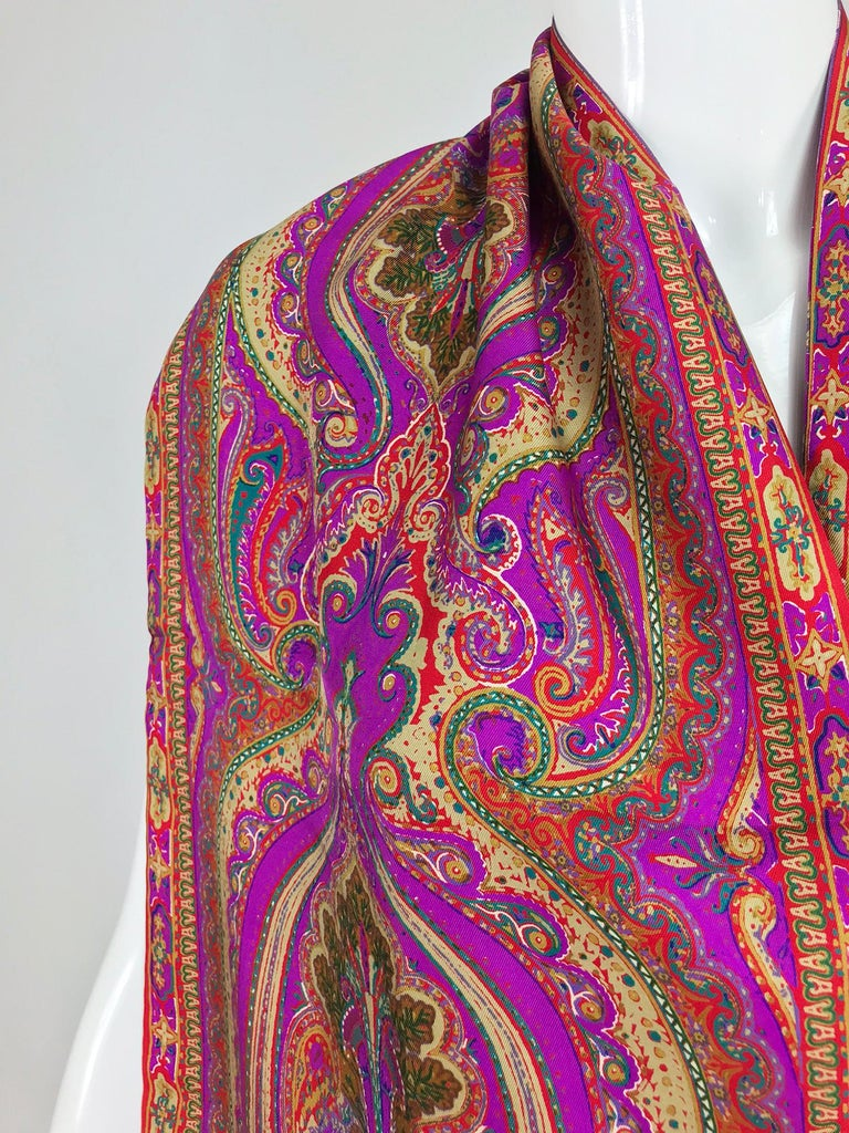 Fendi Paisley Silk Oblong Scarf in Reds and Fuchsia  For Sale 1