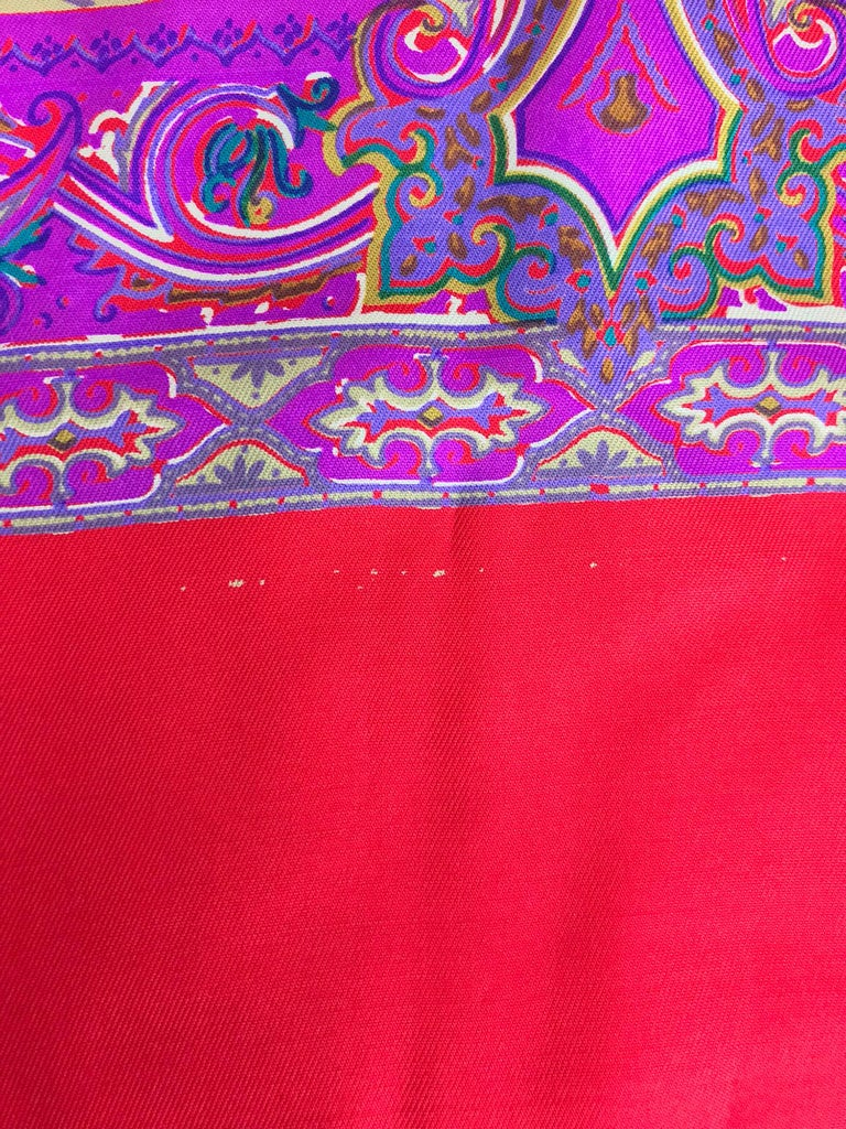 Fendi Paisley Silk Oblong Scarf in Reds and Fuchsia  For Sale 3