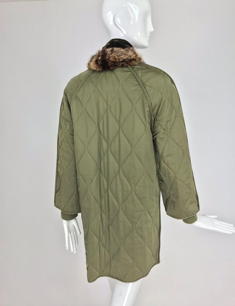Women's Gianfranco Ferre Olive Velvet and Fur Trimmed quilted jacket and sweater 1990s For Sale