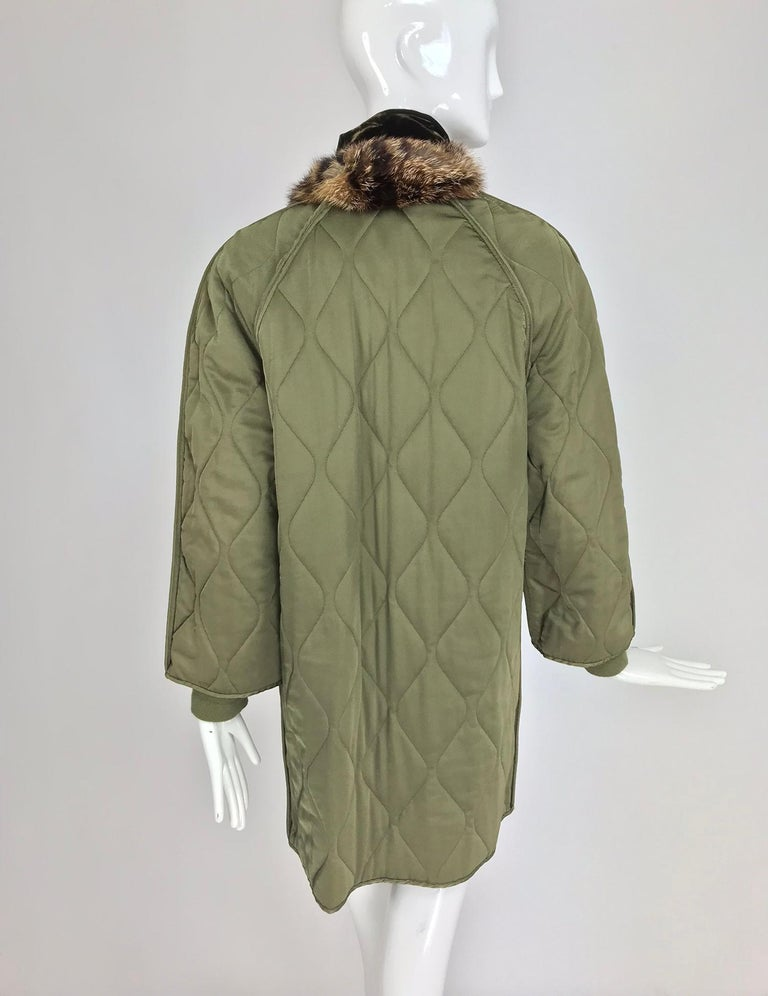 Gianfranco Ferre Olive Velvet and Fur Trimmed quilted jacket and sweater 1990s For Sale 1