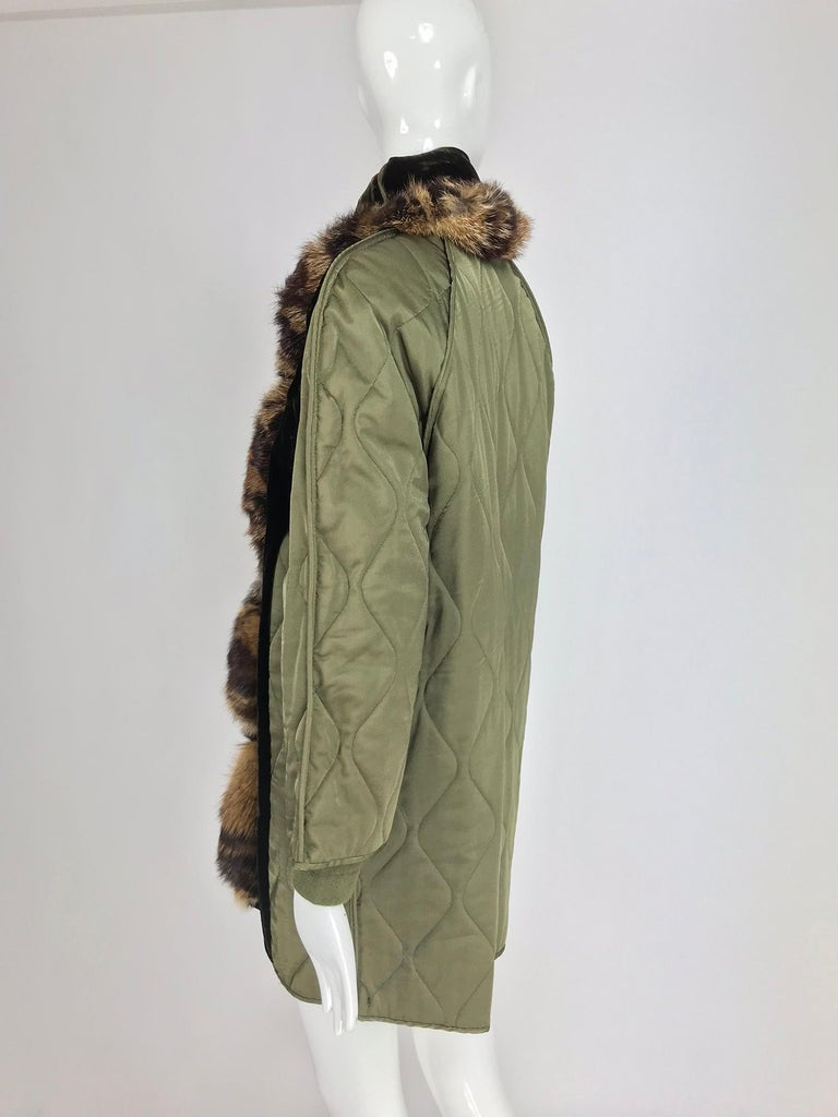 Gianfranco Ferre Olive Velvet and Fur Trimmed quilted jacket and sweater 1990s For Sale 2