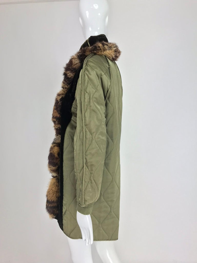 Gianfranco Ferre Olive Velvet and Fur Trimmed quilted jacket and sweater 1990s For Sale 3