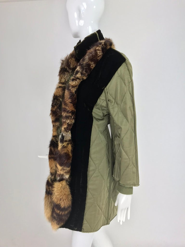 Gianfranco Ferre Olive Velvet and Fur Trimmed quilted jacket and sweater 1990s For Sale 4
