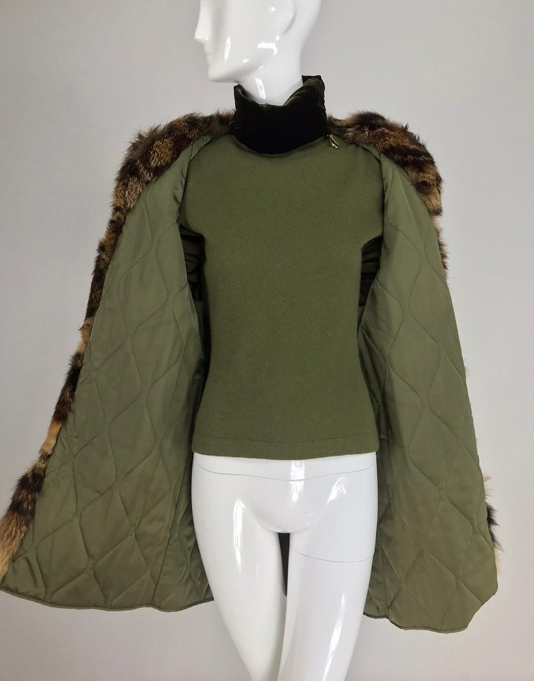 Gianfranco Ferre Olive Velvet and Fur Trimmed quilted jacket and sweater 1990s For Sale 5