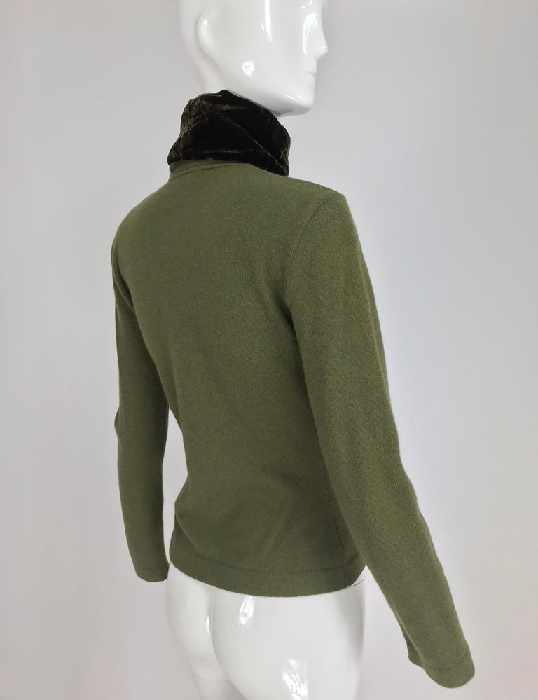 Gianfranco Ferre Olive Velvet and Fur Trimmed quilted jacket and sweater 1990s For Sale 11
