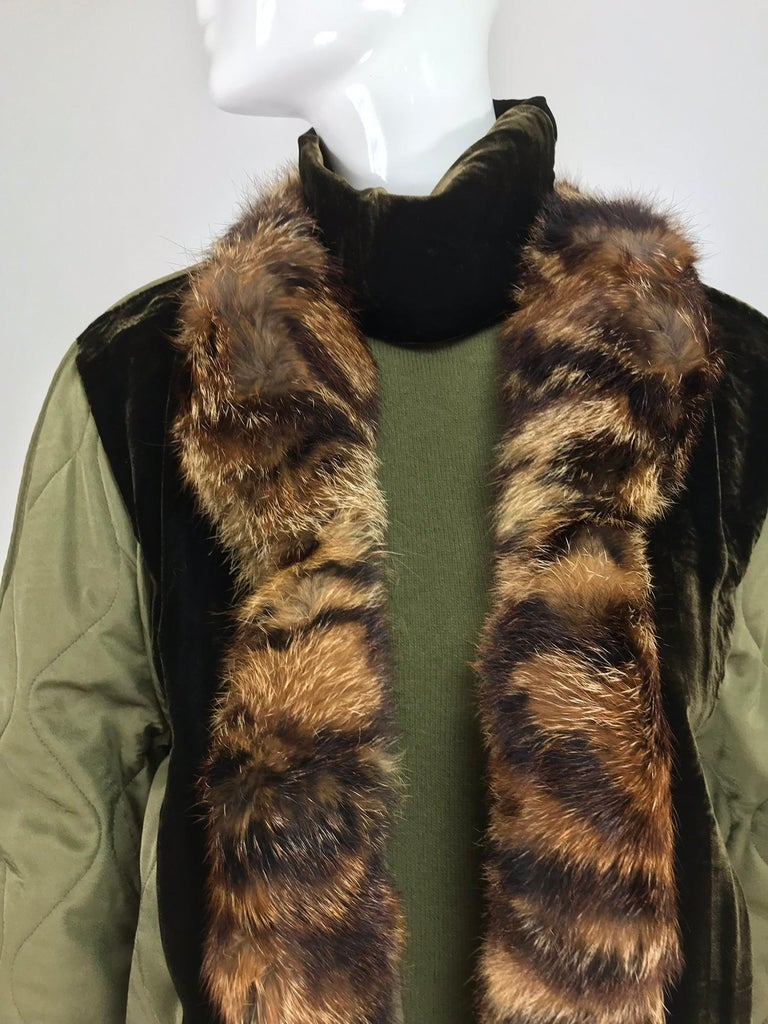 Gianfranco Ferre Olive Velvet and Fur Trimmed quilted jacket and sweater 1990s For Sale 14