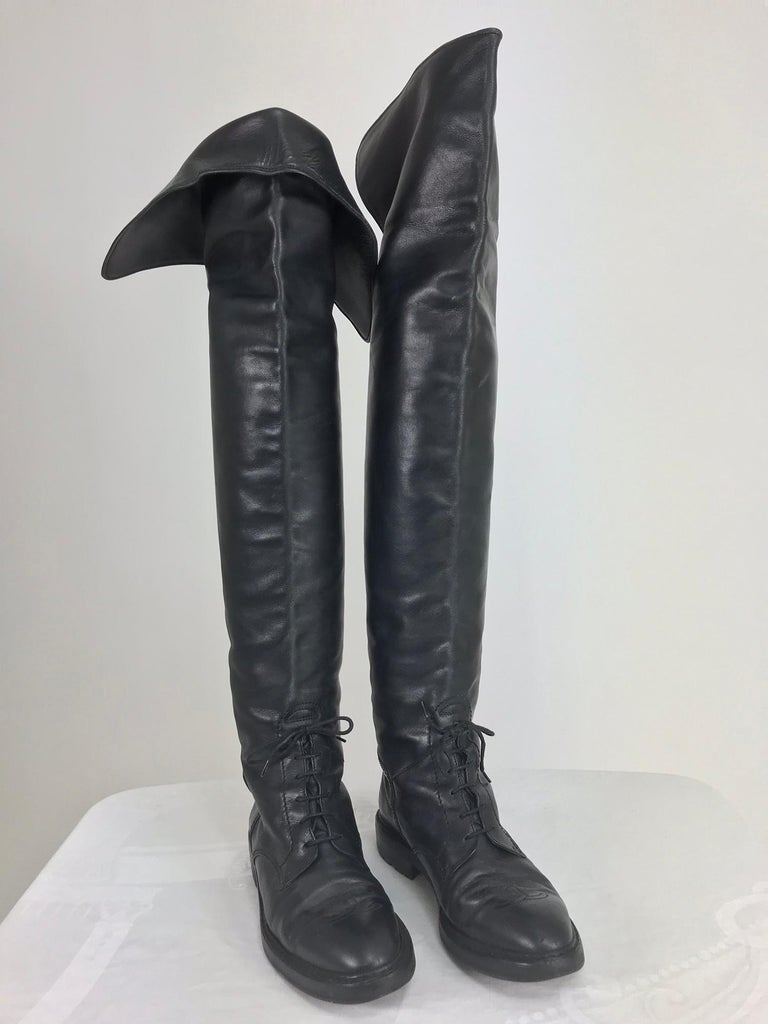 ad9838227f0 Black Chanel Over the knee black leather riding boots Claudia Schiffer worn  1990s For Sale