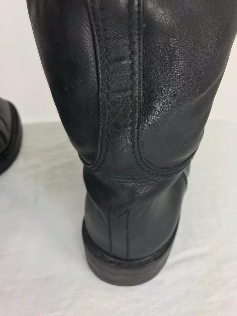 ccf0bba98a5 Chanel Over the knee black leather riding boots Claudia Schiffer worn 1990s For  Sale 4