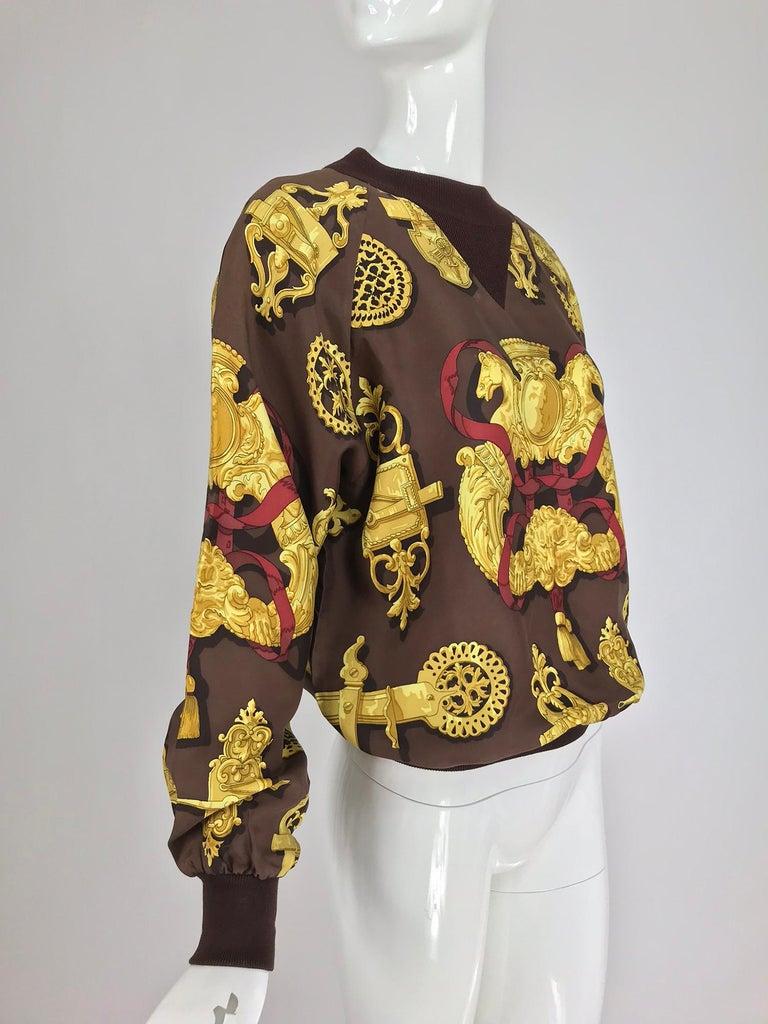 Brown Hermes Ferronnerie Silk Twill Wool Knit Trim Shirt Sweater Caty Latham Vintage For Sale
