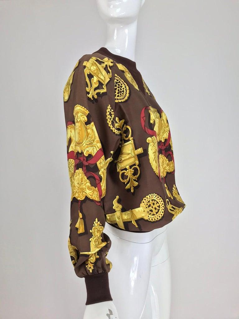 Women's Hermes Ferronnerie Silk Twill Wool Knit Trim Shirt Sweater Caty Latham Vintage For Sale