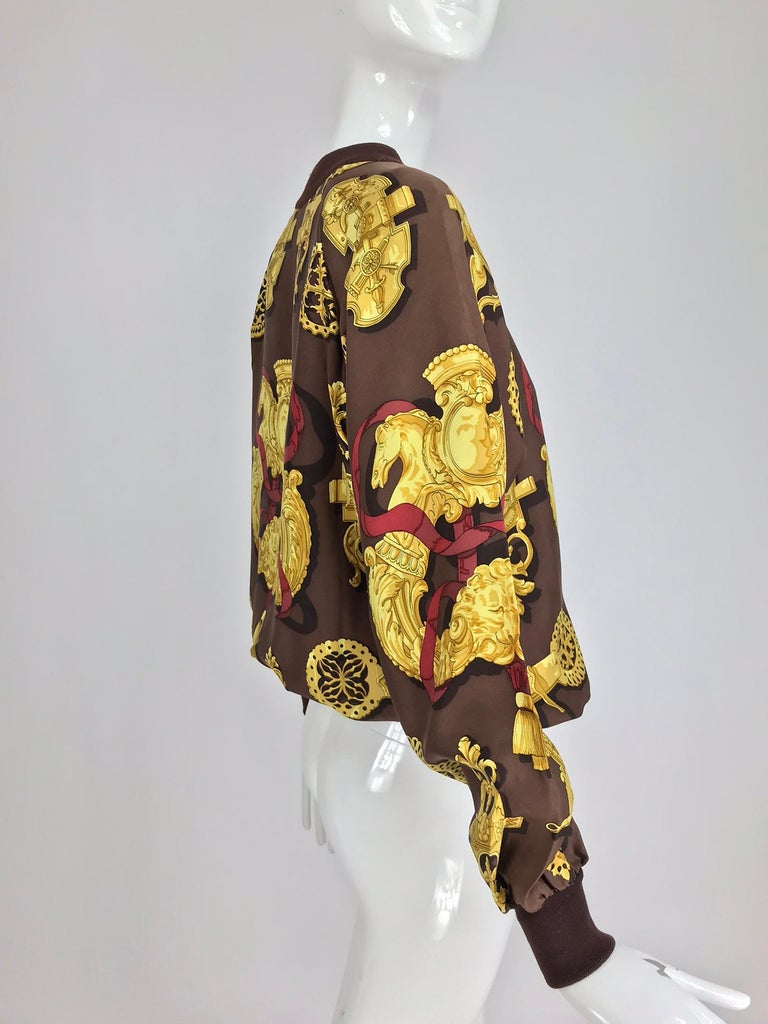 Hermes Ferronnerie Silk Twill Wool Knit Trim Shirt Sweater Caty Latham Vintage For Sale 1