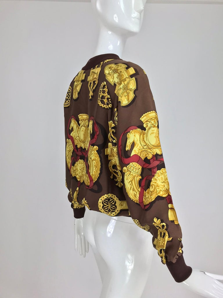 Hermes Ferronnerie Silk Twill Wool Knit Trim Shirt Sweater Caty Latham Vintage For Sale 2