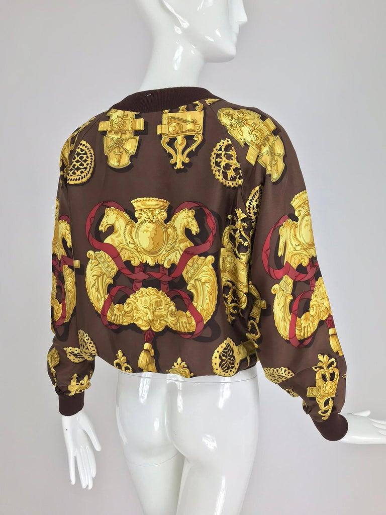 Hermes Ferronnerie Silk Twill Wool Knit Trim Shirt Sweater Caty Latham Vintage For Sale 3