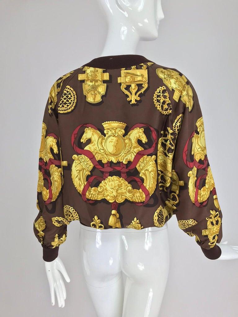 Hermes Ferronnerie Silk Twill Wool Knit Trim Shirt Sweater Caty Latham Vintage For Sale 4