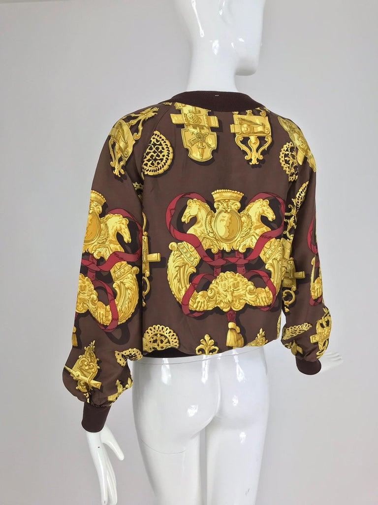 Hermes Ferronnerie Silk Twill Wool Knit Trim Shirt Sweater Caty Latham Vintage For Sale 5