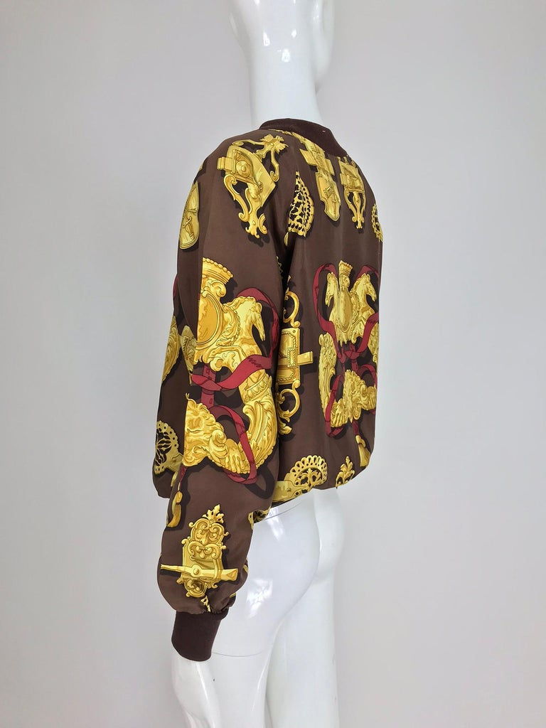 Hermes Ferronnerie Silk Twill Wool Knit Trim Shirt Sweater Caty Latham Vintage For Sale 6