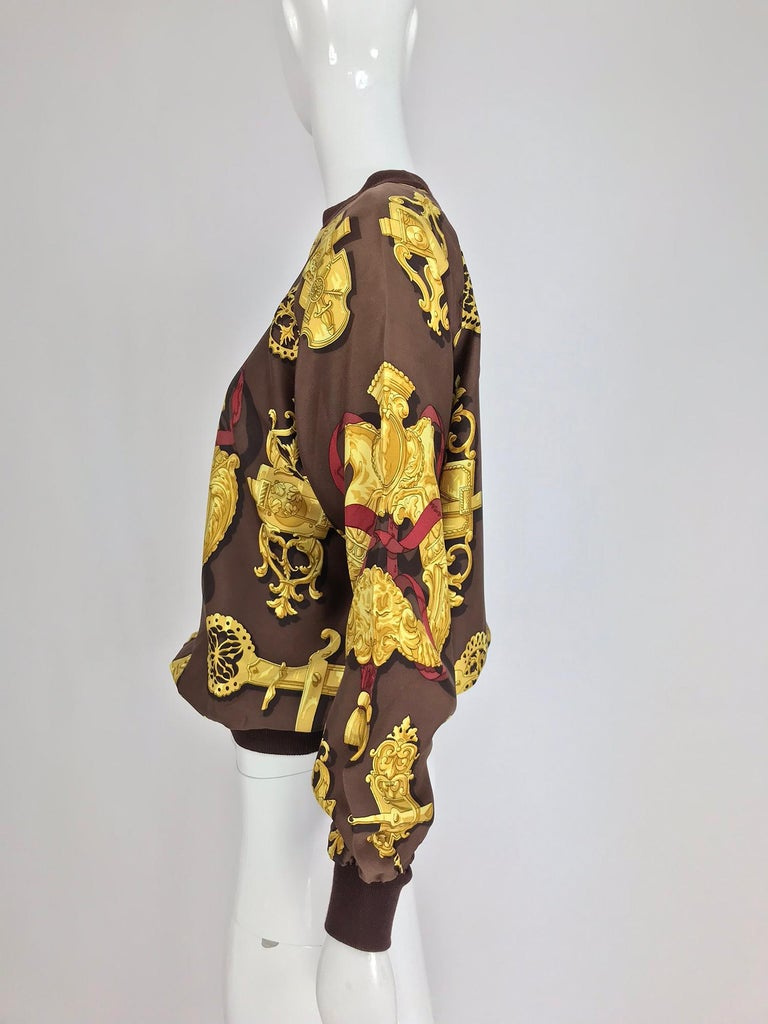 Hermes Ferronnerie Silk Twill Wool Knit Trim Shirt Sweater Caty Latham Vintage For Sale 7