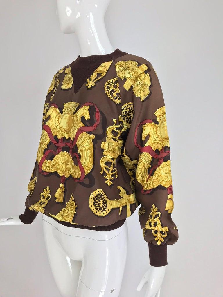 Hermes Ferronnerie Silk Twill Wool Knit Trim Shirt Sweater Caty Latham Vintage For Sale 8