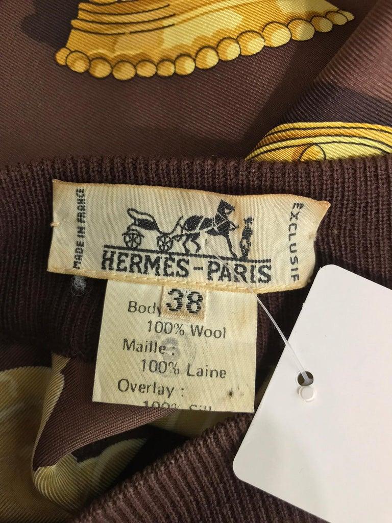 Hermes Ferronnerie Silk Twill Wool Knit Trim Shirt Sweater Caty Latham Vintage For Sale 9