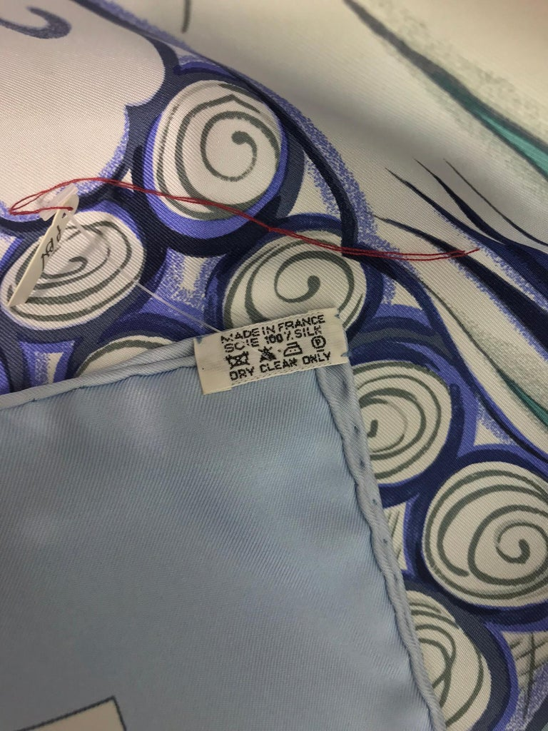 Hermes Ceramique Ottomane Laurence Bourthoumieux Blue Silk Scarf 35 x 35  For Sale 2
