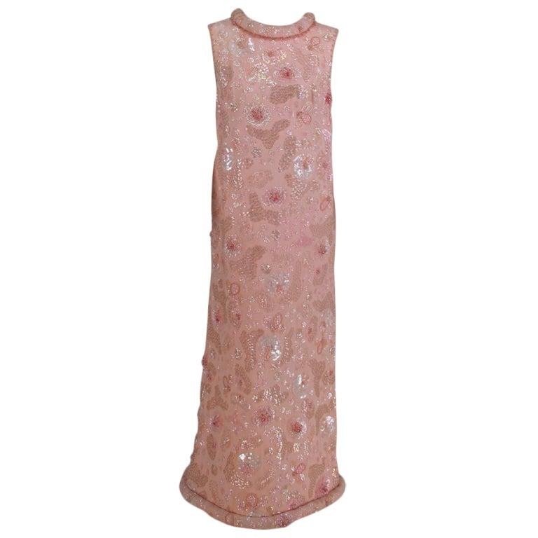 Bonwit Teller candy pink beaded sequin silk chiffon roll hem evening dress 1960s