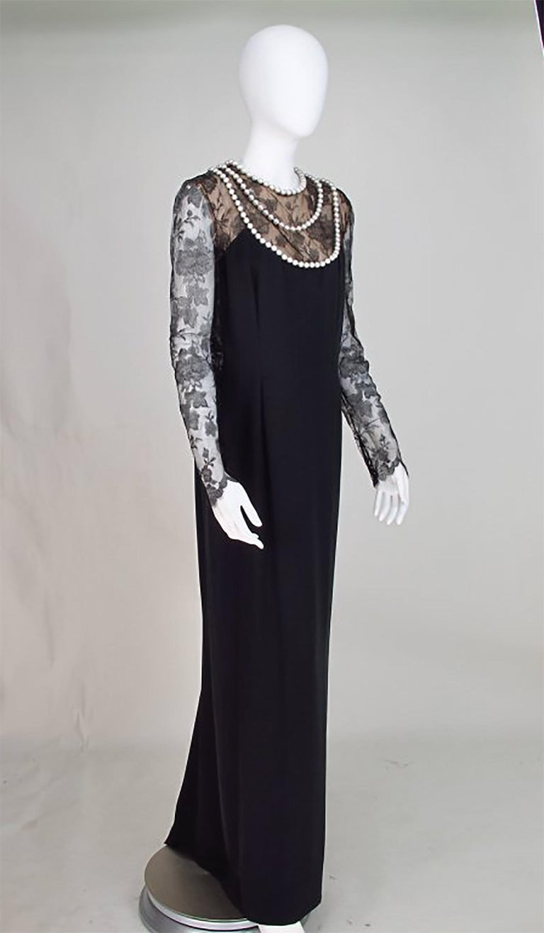 Black Bill Blass black lace and silk chiffon gown with pearl applique necklace 1970s For Sale