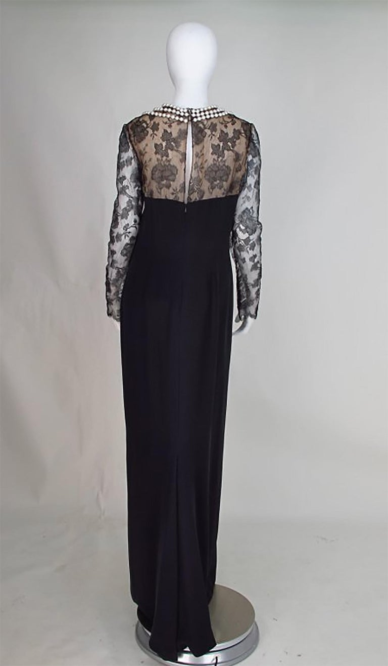 Women's Bill Blass black lace and silk chiffon gown with pearl applique necklace 1970s For Sale