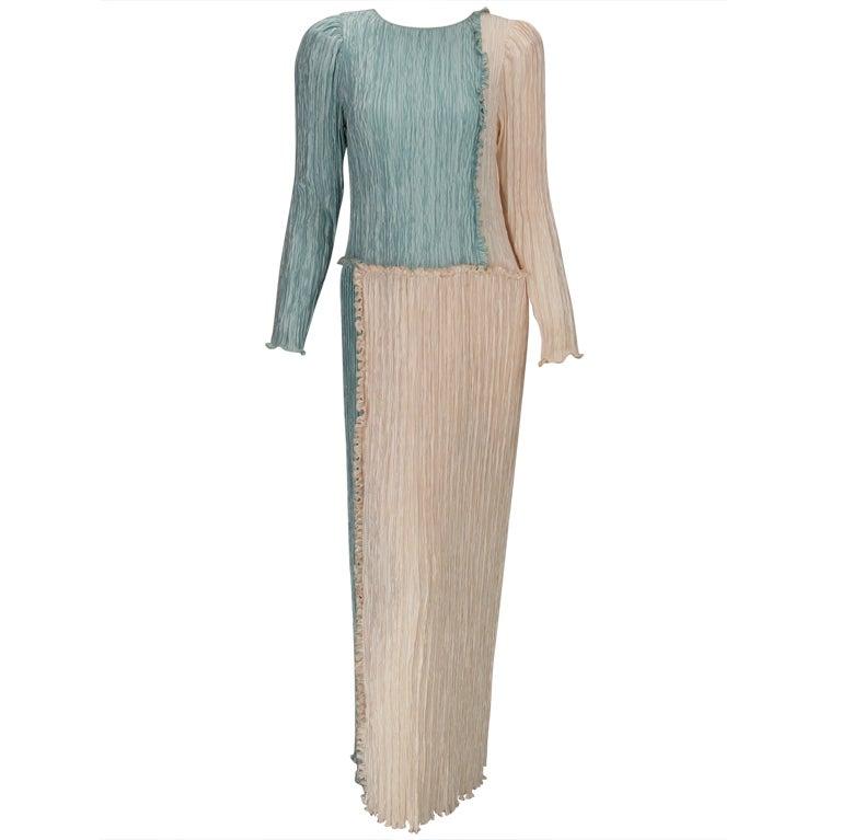Mary McFadden Pleated Fourtuny Style Colour Block Gown 1980s
