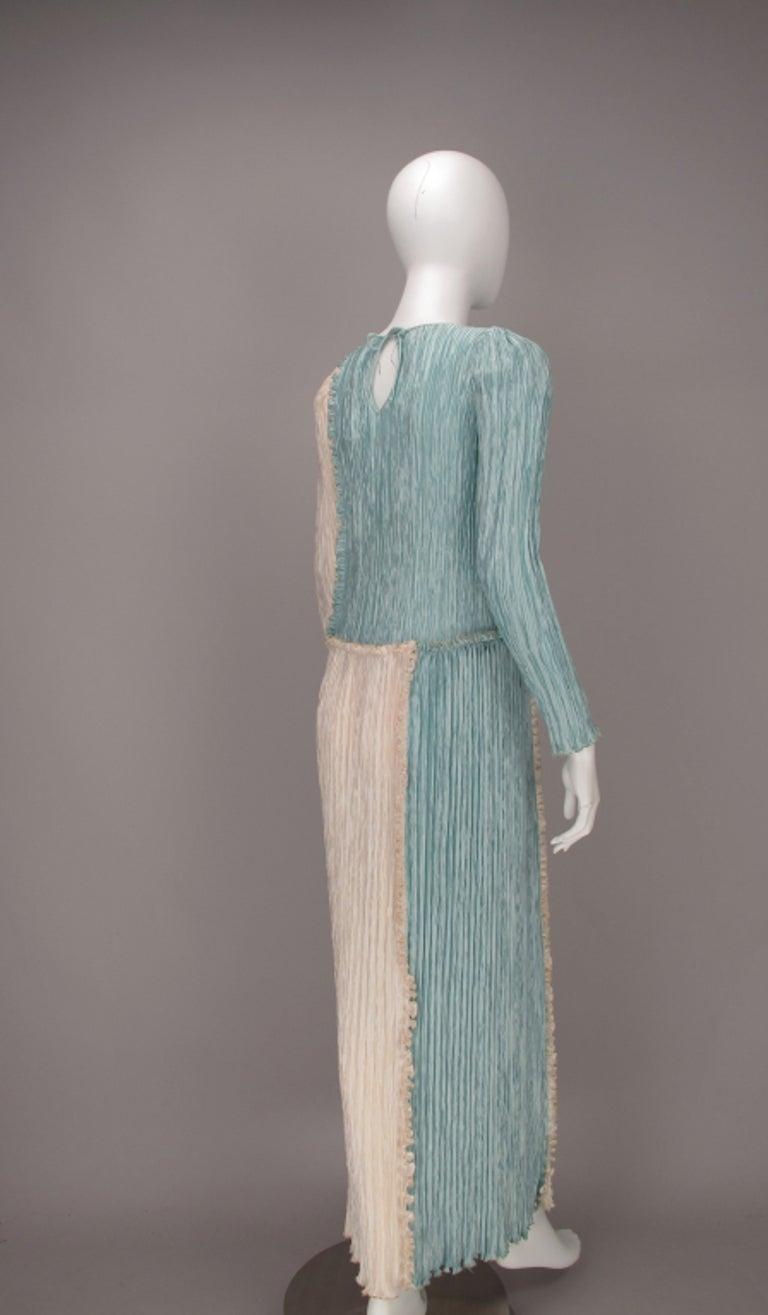Mary McFadden Pleated Fourtuny Style Colour Block Gown 1980s For Sale 1