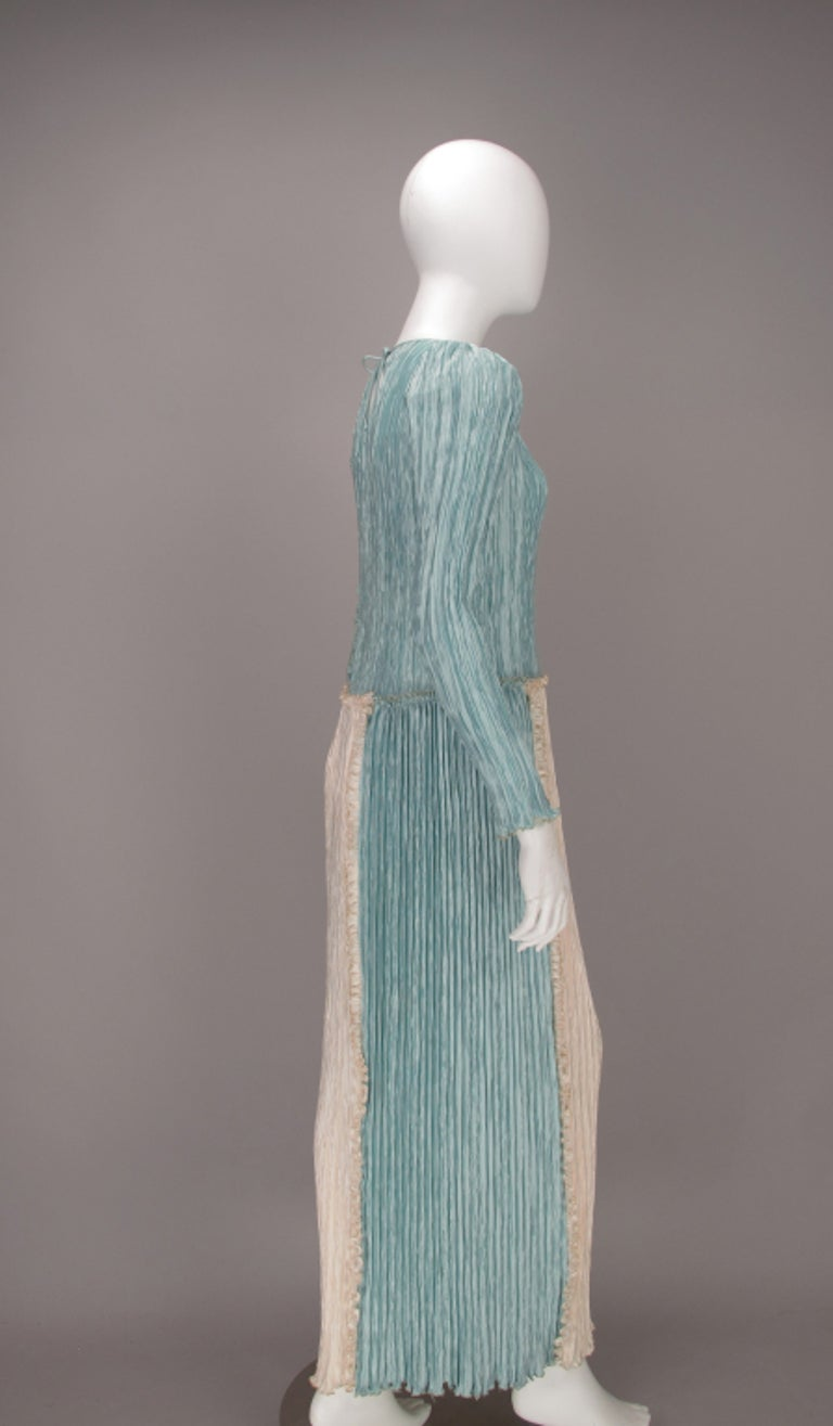 Mary McFadden Pleated Fourtuny Style Colour Block Gown 1980s For Sale 2