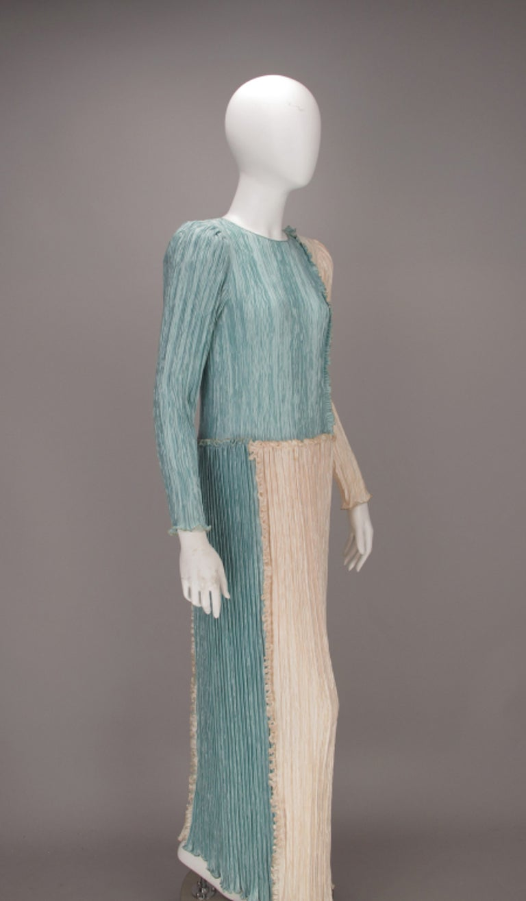 Mary McFadden Pleated Fourtuny Style Colour Block Gown 1980s For Sale 3