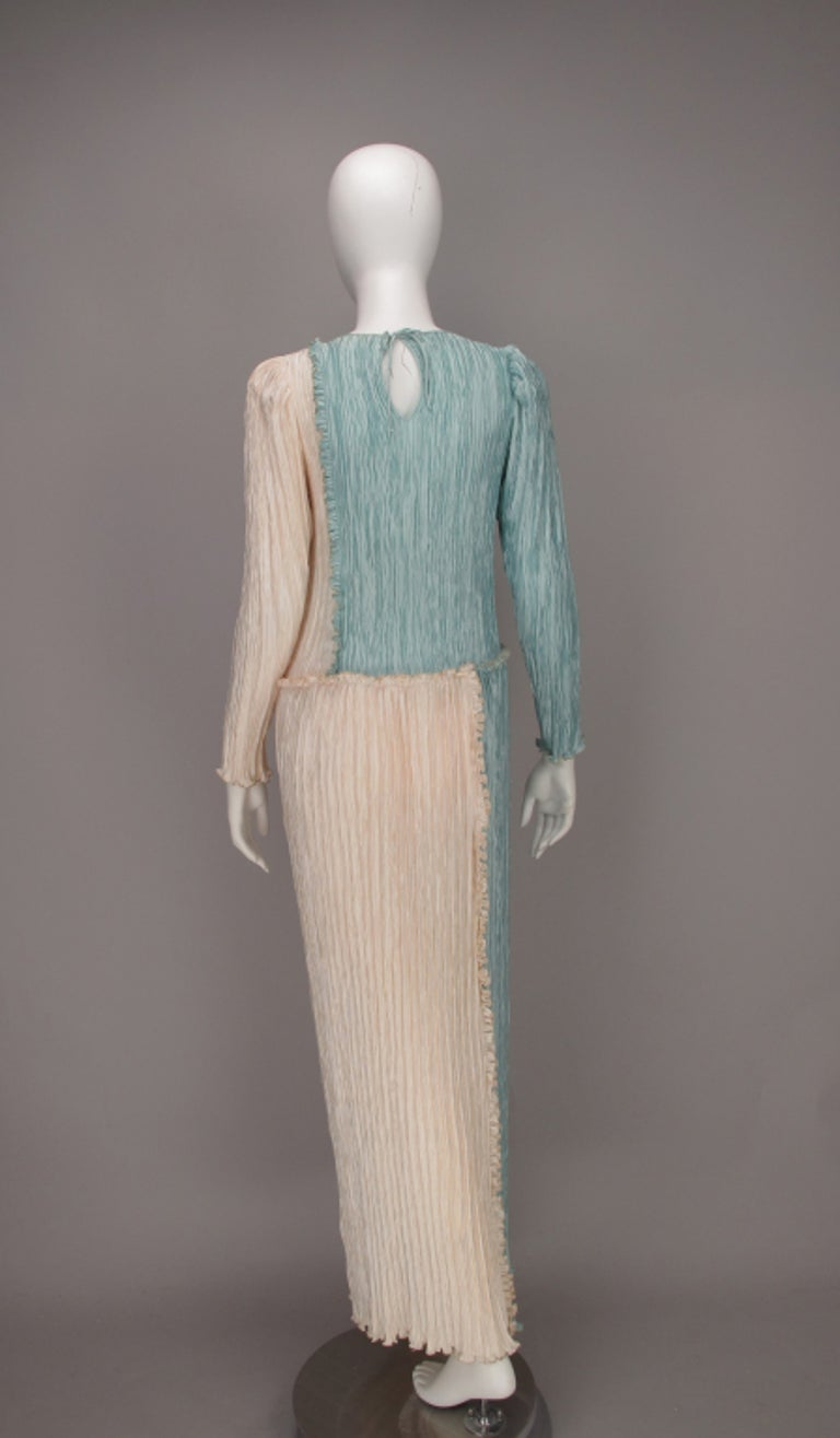 Mary McFadden Pleated Fourtuny Style Colour Block Gown 1980s For Sale 4
