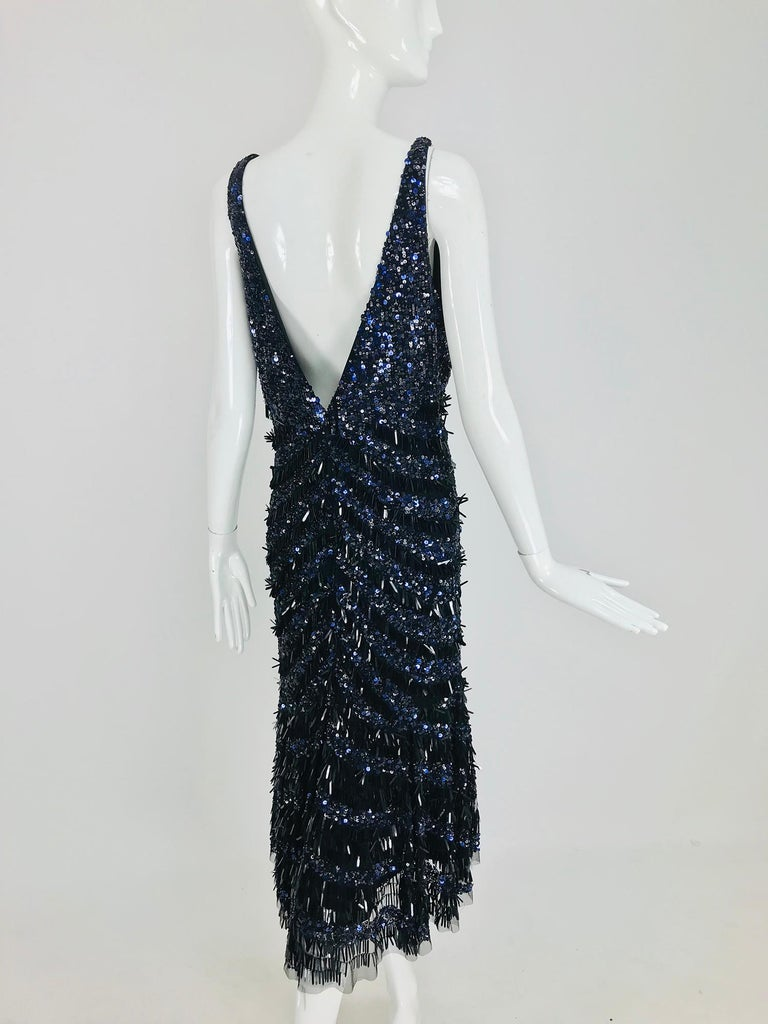 e1b595937b53 Theia Sequin Evening Cocktail Dress in Black and Blue 12 For Sale at ...