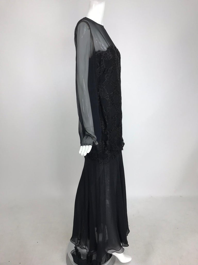 Bill Blass Lacquered Lace Over Black silk chiffon Evening Dress 1970s 12 In New Condition For Sale In West Palm Beach, FL