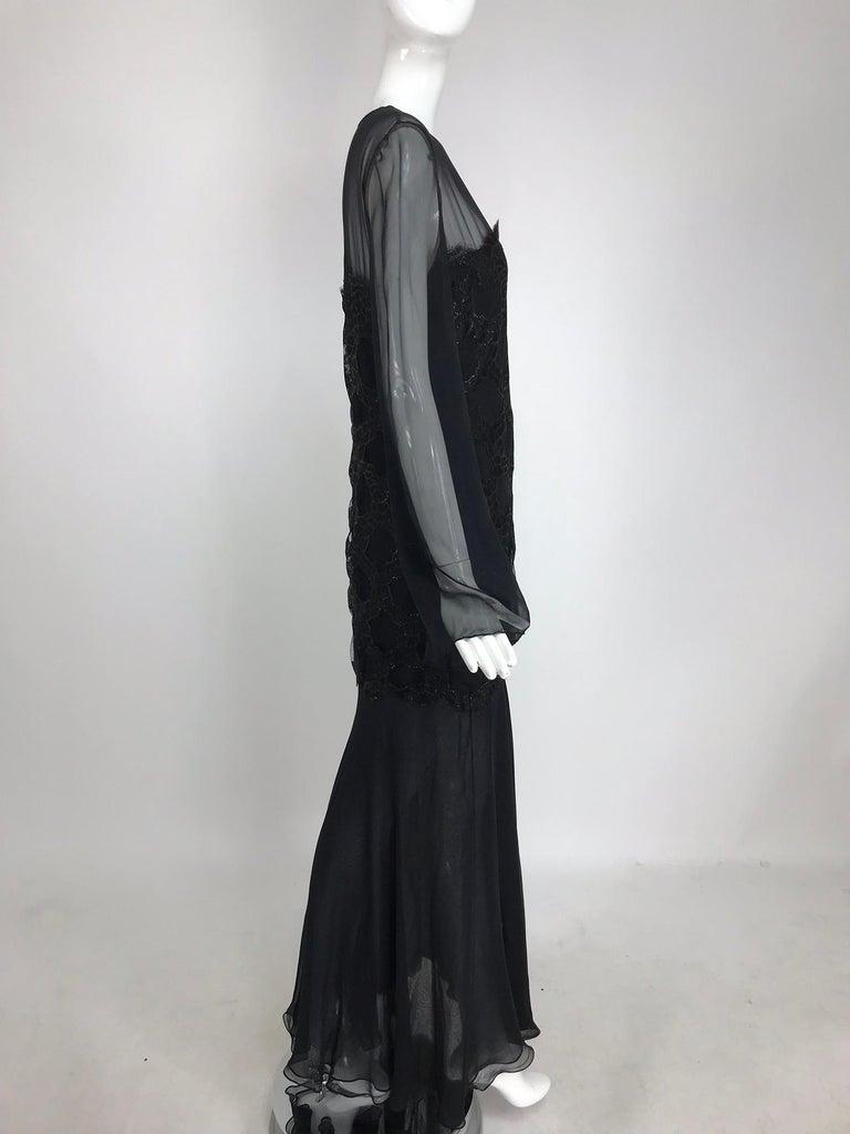Women's Bill Blass Lacquered Lace Over Black silk chiffon Evening Dress 1970s 12 For Sale