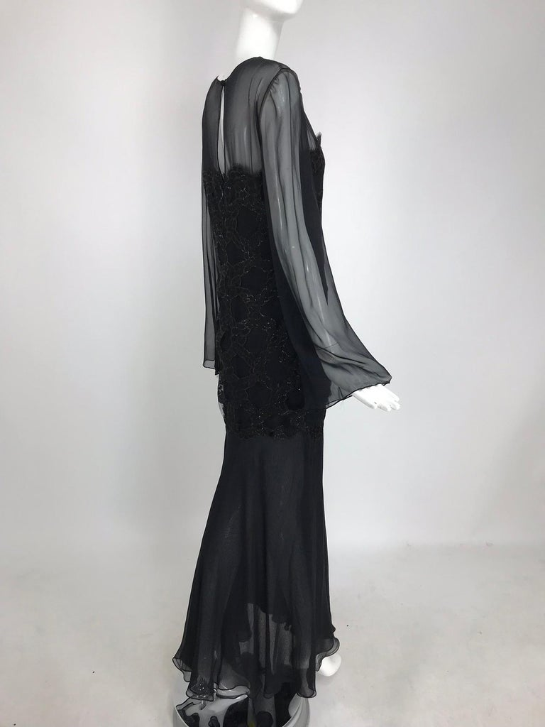 Bill Blass Lacquered Lace Over Black silk chiffon Evening Dress 1970s 12 For Sale 1