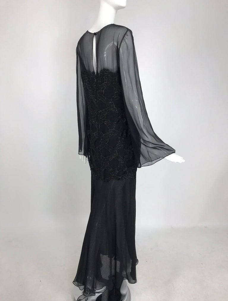 Bill Blass Lacquered Lace Over Black silk chiffon Evening Dress 1970s 12 For Sale 2