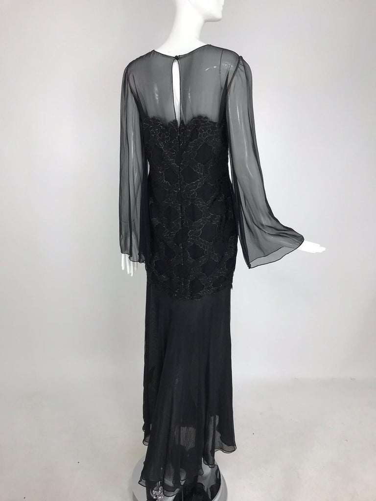 Bill Blass Lacquered Lace Over Black silk chiffon Evening Dress 1970s 12 For Sale 3