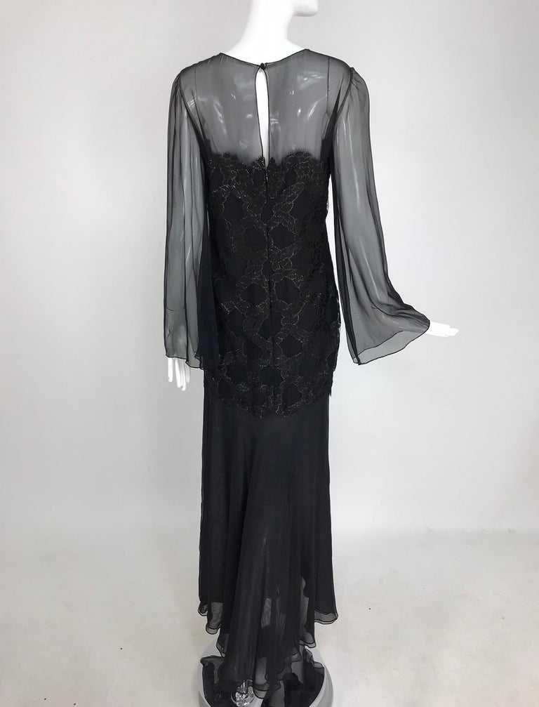 Bill Blass Lacquered Lace Over Black silk chiffon Evening Dress 1970s 12 For Sale 4