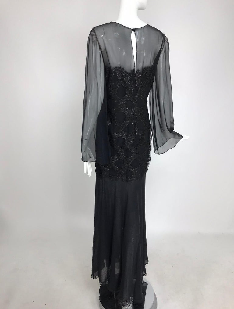 Bill Blass Lacquered Lace Over Black silk chiffon Evening Dress 1970s 12 For Sale 5