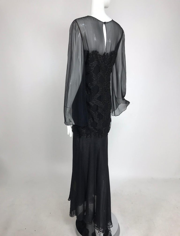 Bill Blass Lacquered Lace Over Black silk chiffon Evening Dress 1970s 12 For Sale 6
