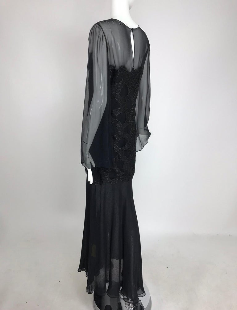 Bill Blass Lacquered Lace Over Black silk chiffon Evening Dress 1970s 12 For Sale 7