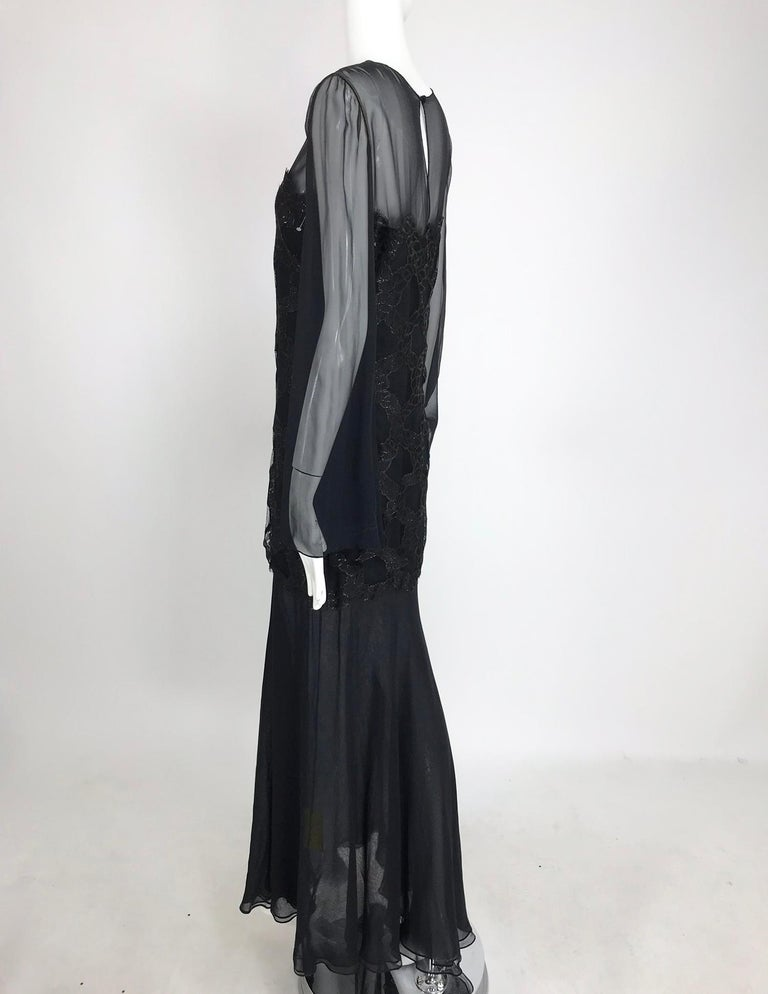 Bill Blass Lacquered Lace Over Black silk chiffon Evening Dress 1970s 12 For Sale 8