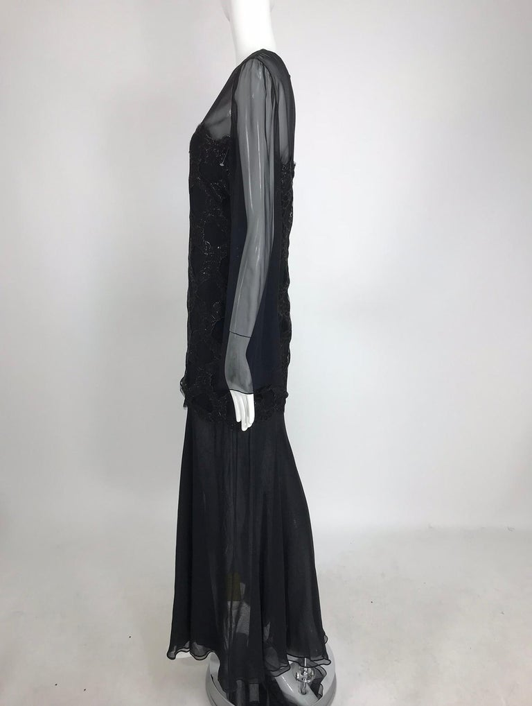 Bill Blass Lacquered Lace Over Black silk chiffon Evening Dress 1970s 12 For Sale 9