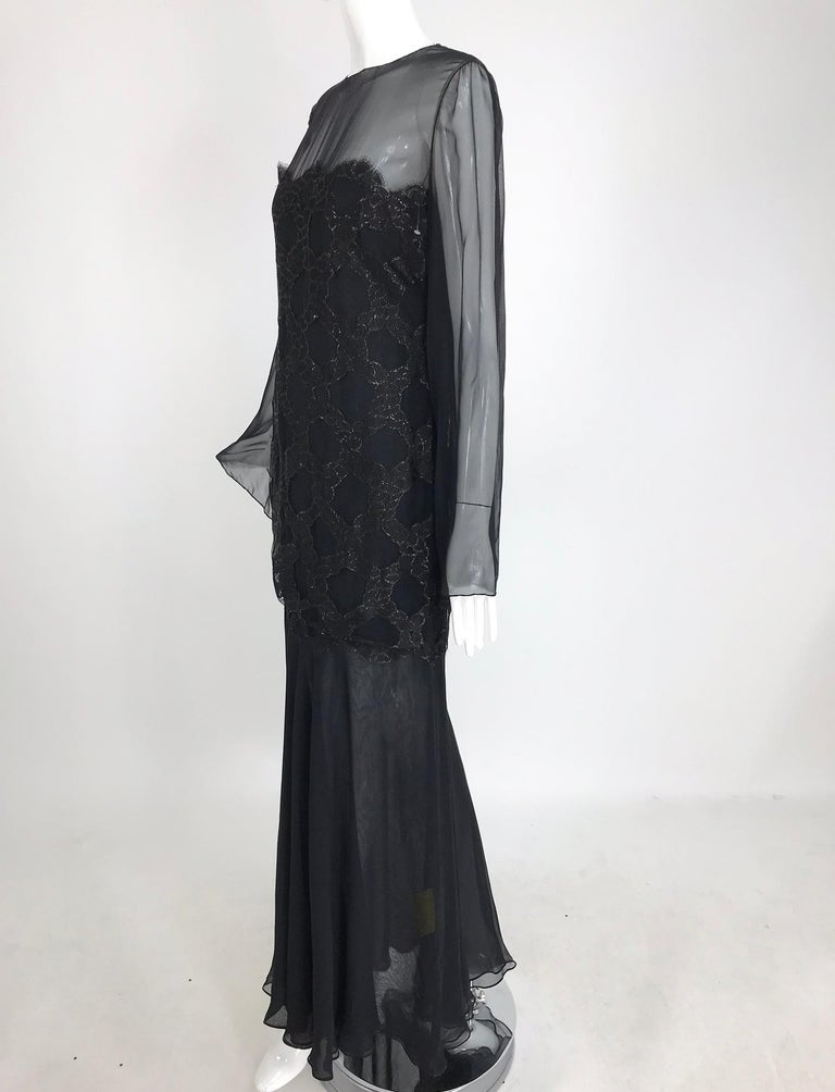 Bill Blass Lacquered Lace Over Black silk chiffon Evening Dress 1970s 12 For Sale 10