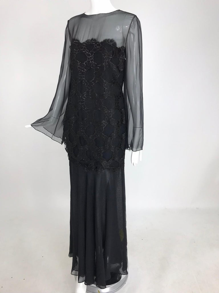 Bill Blass Lacquered Lace Over Black silk chiffon Evening Dress 1970s 12 For Sale 11