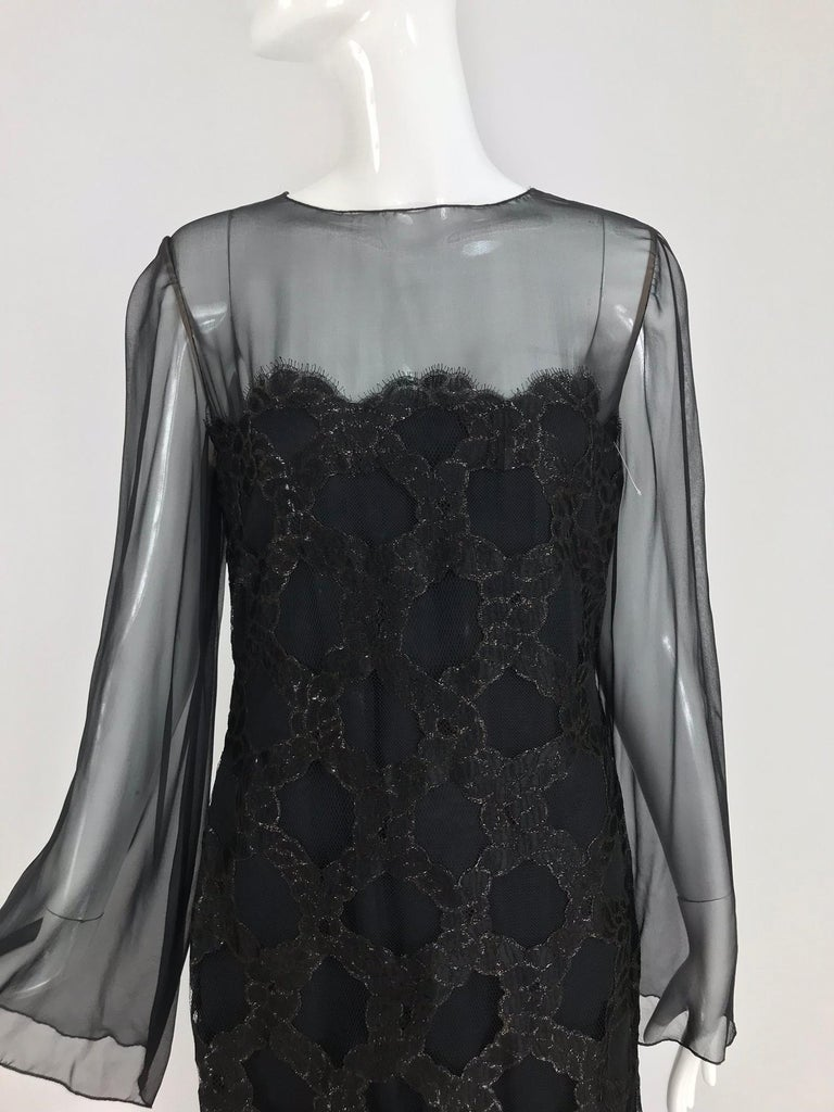 Bill Blass Lacquered Lace Over Black silk chiffon Evening Dress 1970s 12 For Sale 12