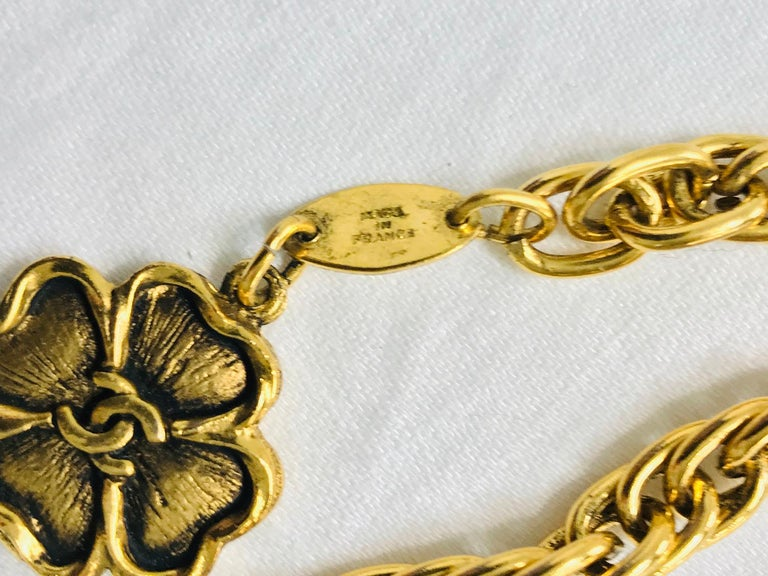 Chanel Eight Four Leaf Clover gold chain belt necklace 1988 For Sale 1