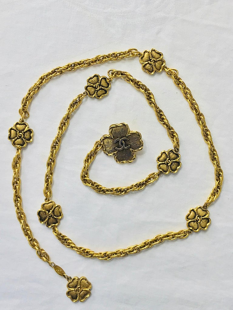 Chanel Eight Four Leaf Clover gold chain belt necklace 1988 For Sale 3